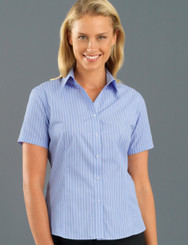John Kevin Women's Short Sleeve Pinfeather Stripe
