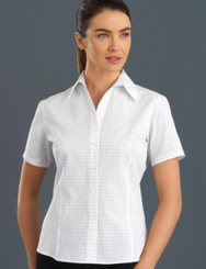 John Kevin Women's Short Sleeve Window Check