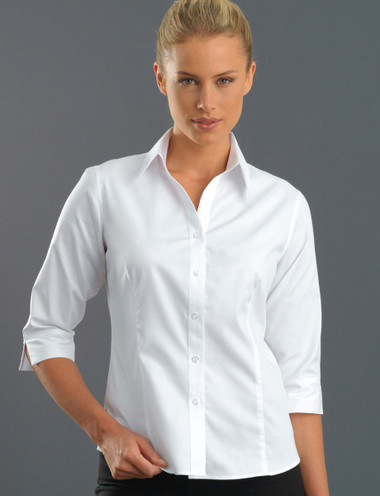 John Kevin Women's 3/4 Sleeve Oxford