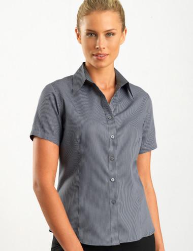 John Kevin Women's Short Sleeve Pin Stripe