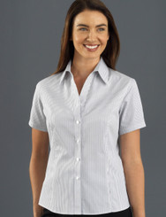 John Kevin Women's Short Sleeve Herringbone Stripe