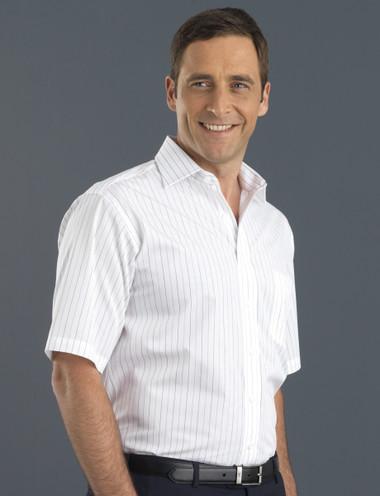 John Kevin Mens Short Sleeve Fine Stripe
