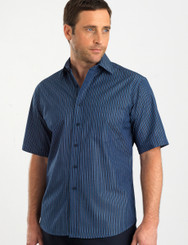 John Kevin Mens Short Sleeve Bold Stripe Shirt