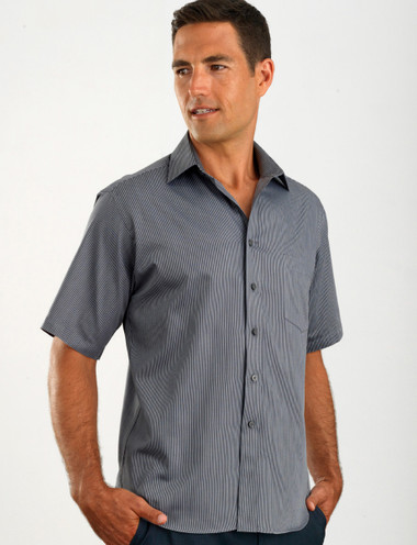 John Kevin Mens Short Sleeve Pin Stripe Shirt