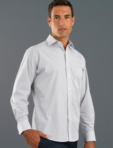 John Kevin Mens Long Sleeve Herringbone Stripe Shirt