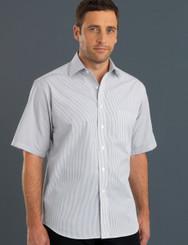 John Kevin Mens Short Sleeve Herringbone Stripe Shirt