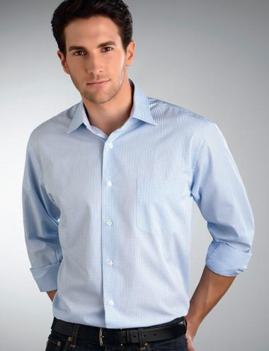 John Kevin Mens Long Sleeve Mini Check Shirt