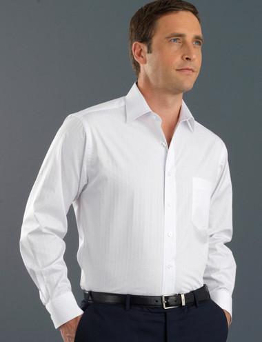 John Kevin Mens Long Sleeve Self Stripe Shirt