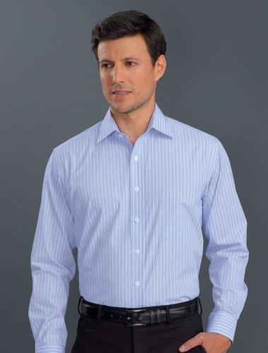 John Kevin Mens Long Sleeve Pin Feather Stripe Shirt