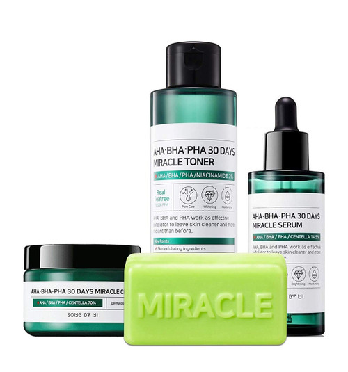 Somebymi AHA BHA PHA Miracle Series Full Set 4 Pcs (Soap, Toner, Serum, Cream) Anti-acne Exfoliation Hydration Brightening, Skin Barrier & Recovery, Soothing with Tea Tree