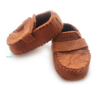 brown felt baby moccasins