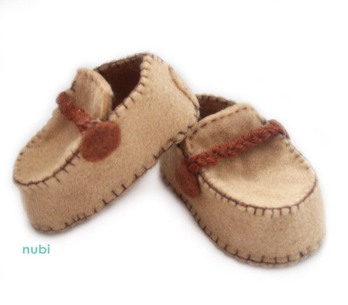 light brown baby moccasins