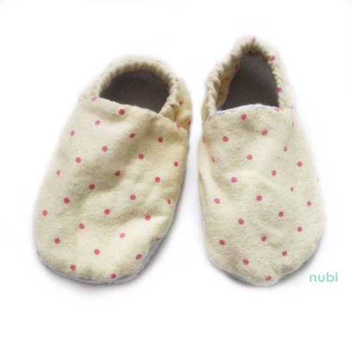 yellow polkadot soft sole baby shoes