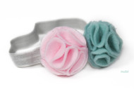 pink mint green flower baby headband