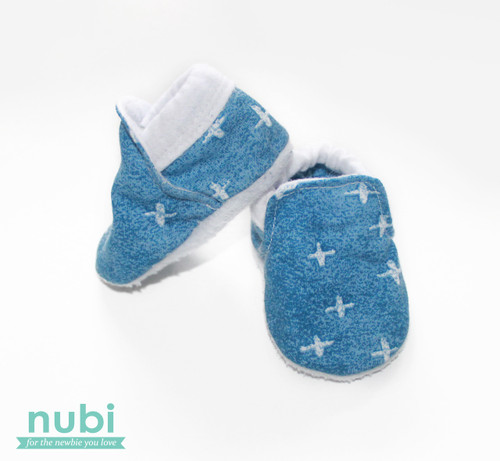 blue denim baby shoes