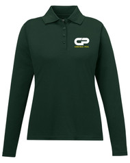 CPS Ladies Performance Long Sleeve Pique Polo - Forest Green