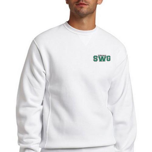 d52dfea75 SWG Russell Mens Dri-Power Fleece Crewneck Sweat shirt - White ...