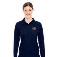 RHCA 9-12 Girls Long Sleeve Polyester Pique Polo (Embroidered) - Navy