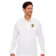RHCA 9-12 Boys Long Sleeve Polyester Pique Polo (Embroidered) - White