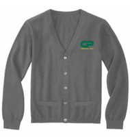 CPS Adult Button Front Cardigan w/Pockets - Heather Grey