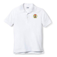 RHCA 9-12 Boys Short Sleeve Polyester Pique Polo (Embroidered) - (Adult Sizes) - White