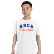 RHCA 6-8 Youth Cotton Gym T-Shirt (Adult Sizes) - White