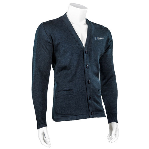 DPS Adult V-Neck Full Button Ultra Acrylic Sweater - Navy (144-I-NY)