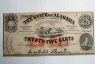 Original Confederate Alabama Twenty-Five Cent Note, 1863