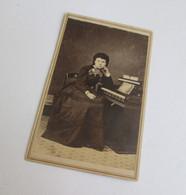 CDV Photograph of girl with pump organ, Ft. Monroe, VA (SOLD)