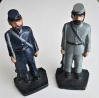 Vintage pair of cast iron Civil War soldiers