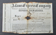 Adams Express Document, 1862, soldier in 20th Maine Infantry
