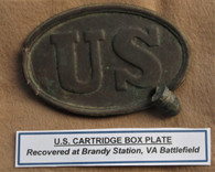 Civil War U.S. Cartridge Box Plate, struck, Brandy Station