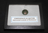 Confederate South Carolina button, dug near Richmond 1990