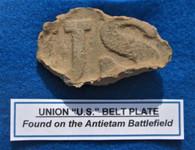 "Union ""US"" Belt Plate recovered at Antietam"