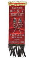 Mint 1899 9th New York Reunion Ribbon with raised flags
