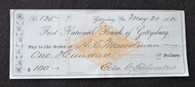 Gettysburg check signed by Edward G. Fahnestock, Sanitary Commission