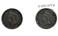 Two 1862 one cent coins, one recovered at Corinth