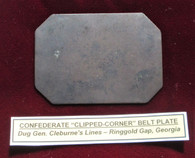 Confederate Clipped-corner Belt Plate recovered at Cleburne's Line, Ringgold Gap