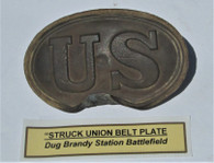 """Struck"" Union Belt Plate, recovered at Brandy Station (ON HOLD,BS)"