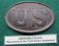 "Near perfect ""US""Belt Plate dug at Cold Harbor, VA"