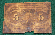 Five-Cent U.S. Fractional currency, dated 1862