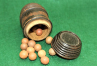 Civil War Wood Barrel with clay marbles
