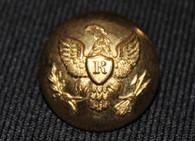 """Original Civil War non-dug Officer's Rifleman """"R"""" button"""