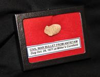 Fired bullet from the Miller Cornfield, Antietam, dug Oct. 1971