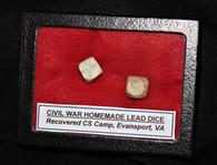 Civil War carved-lead dice from a Confederate Georgia camp in Virginia