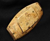 Rare – Revolutionary War/Civil War hand-carved bone snuff box (SOLD,MH)