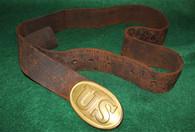 Original Civil War U.S. Belt Plate and Belt