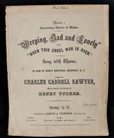 """Original Civil War Sheet Music, """"Weeping, Sad & Lonely"""", 1863"""