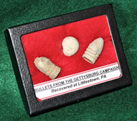 Grouping of three Civil War bullets from Gettysburg Campaign, Littlestown, PA