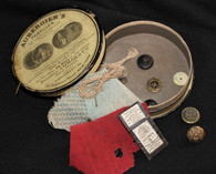 """Civil War Soldier's Sewing Kit """"Housewife"""" with needles, thread, and buttons"""